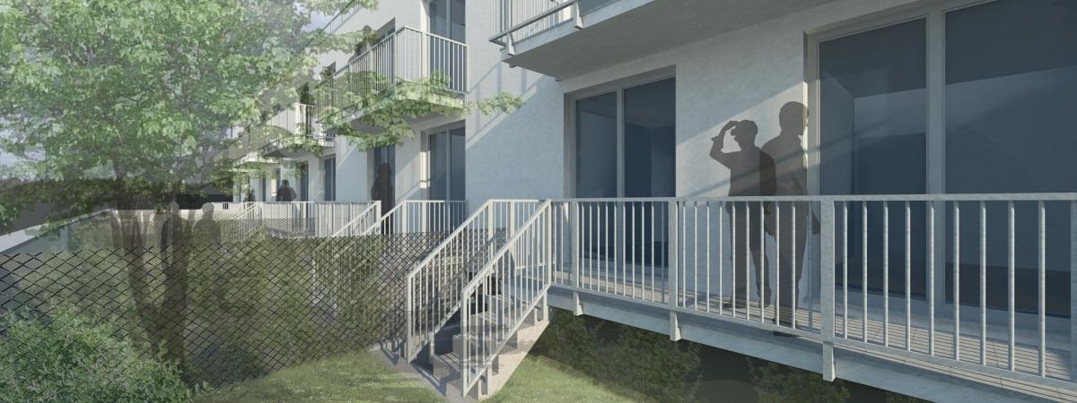 Rezidence Berounka - zahrady bytů v 1. NP